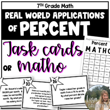 MATHO (Math Bingo)- Real World Applications of Percents