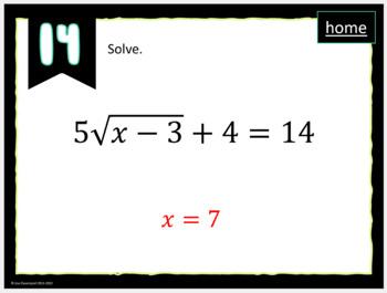 MATHO (Math Bingo)- Simplifying Radicals & Solving Radical Equations