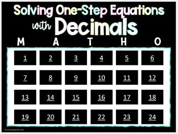 MATHO (Math Bingo)- Solving One-Step Equations Containing Decimals