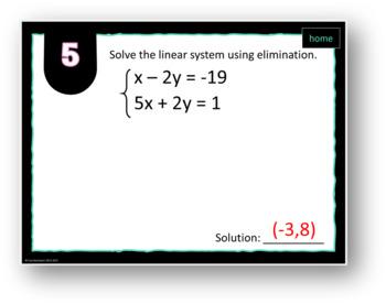 MATHO (Math Bingo)- Systems of Linear Equations