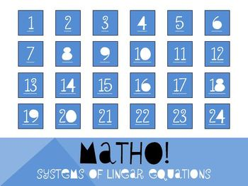MATHO (Math Bingo)- Systems of Linear Equations