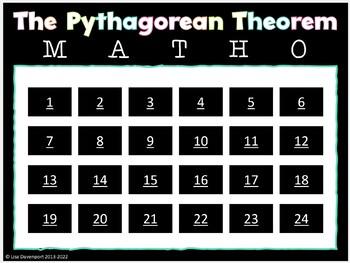 MATHO (Math Bingo)- The Pythagorean Theorem