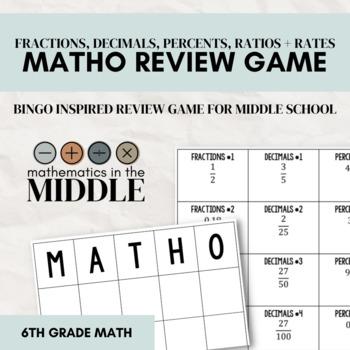 MATHO Review Game (Fractions, Decimals, Percents, Rates, & Ratios)