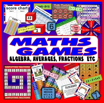 MATHS BOARD GAMES & ACTIVITIES TEACHING RESOURCE KS2-4 ALGEBRA FRACTIONS ETC