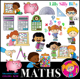 MATHS Clipart set. BLACK AND WHITE & Color Bundle. {Lilly