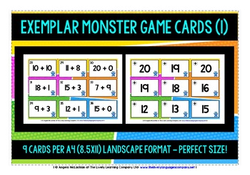MATH NUMBERS 0-20 - ADDITION & SUBTRACTION - GAME CARDS & ANSWER KEYS