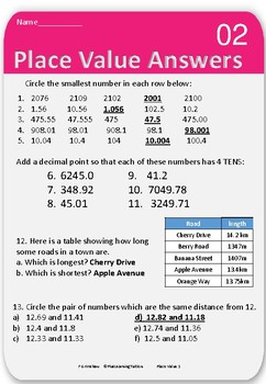 MATHS Place Value worksheets & answers