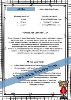 Maths - Australian Curriculum - Report Writing - Foundation - Reception
