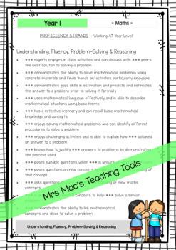 Maths - Australian Curriculum - Report Writing - Year 1