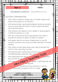 MATHS - Report Writing Comments - Year Grade 2 - Australian Curriculum