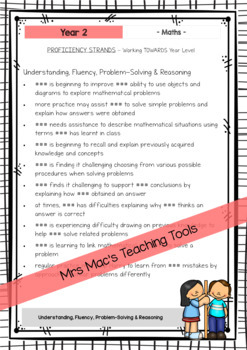 Maths - Australian Curriculum - Report Writing - Year 2