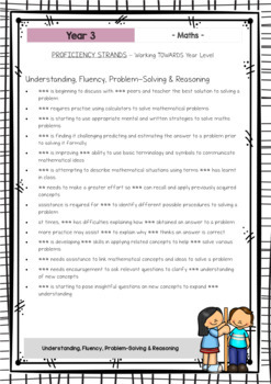 MATHS - Report Writing Comments - Year Grade 3 - Australian Curriculum