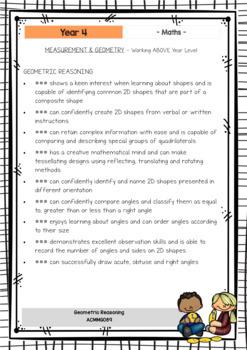 MATHS - Report Writing Comments - Year Grade 4 - Australian Curriculum