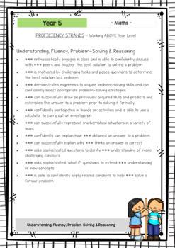 MATHS - Report Writing Comments - Year Grade 5 - Australian Curriculum