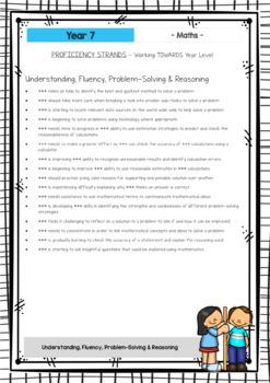 MATHS - Report Writing Comments - Year Grade 7 - Australian Curriculum
