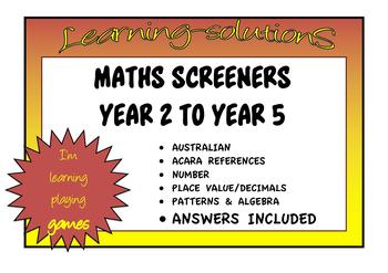MATHS SCREENER for DIFFERENTIATION - Years 2-5 - ACARA - ANSWERS Included