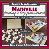 MATHVILLE Build a City Math Project STEM PBL Geometry, Area, Volume, Prisms.