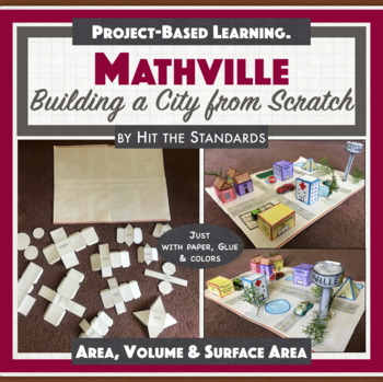 MATHVILLE Build a City Math Project Geometry, Area, Surface a,3D Volume STEM