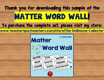 MATTER WORD WALL Freebie Sample! Mixture/Suspension/Solution