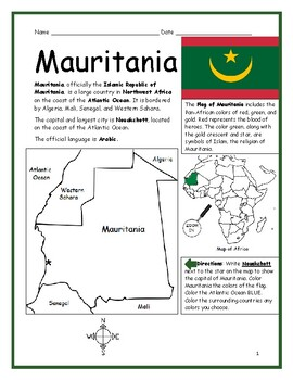 MAURITANIA - printable handout with map and flag
