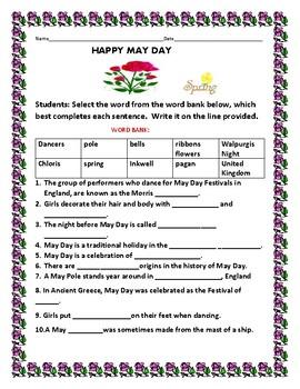 MAY DAY: A CULTURAL WORD BANK ACTIVITY
