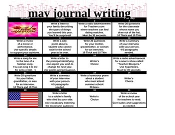 MAY  - Fun Writing Prompts for Each Day - Common Core Practice