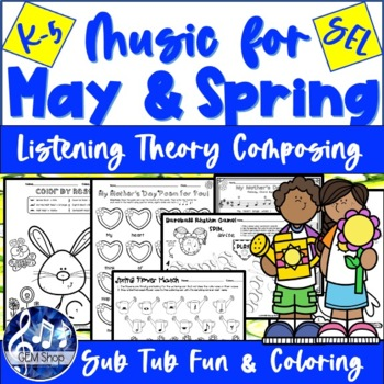 MAY & SPRING MUSIC Worksheets & No-Prep K-5 Songs, Differentiated Learning Fun!
