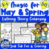 MAY & SPRING MUSIC Worksheets & Activities K-5 Songs - No Prep Learning Fun!