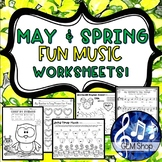 MAY & SPRING MUSIC Worksheets & Activities K-5 Songs - No Prep Learning Fun!