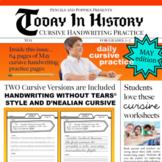 MAY Today in History CURSIVE handwriting practice daily cursive writing trivia