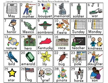 MAY Vocabulary and Fine Motor MONTHLY Worksheets for Special Education / Autism