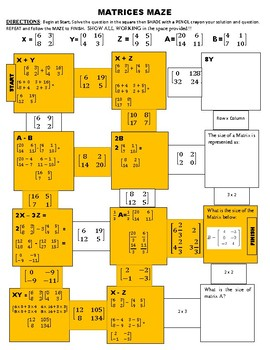 MAZE - Adding, Subtracting and multiplying a matrix by whole number