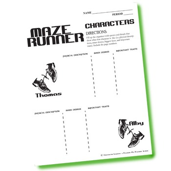 THE MAZE RUNNER Characters Organizer (by James Dashner)