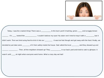 Mad Libs Type Fill-In-The-Blank Paragraphs