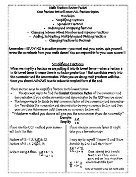 MAth Fraction Review Packet