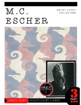 Artist MC Escher Montessori 3 Part Cards with Display Card