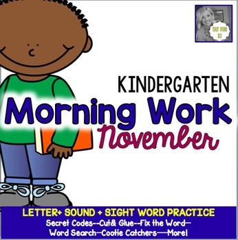 Kindergarten Morning Work--November