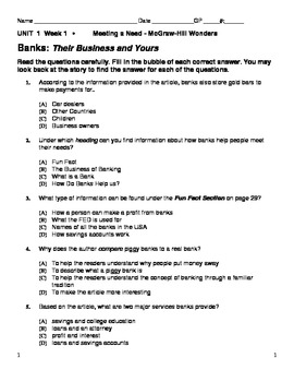 MC Graw-Hill Unit 1 Wk 1 - Banks:Their Business and Yours- One Hen