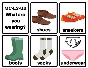 MC-L3-U2 Flashcards: Level 3 Unit 2: What are you wearing?