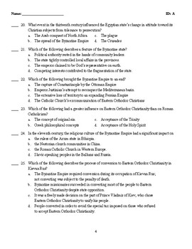 MC Test-THE WORLDS OF CHRISTENDOM:CONTRACTION, EXPANSION, AND DIVISION, 500–1300
