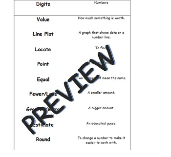 MCA Math Vocabulary Matching Game