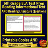 6th Grade ELA Test Prep Reading Practice Tests Print & SELF-GRADING GOOGLE FORMS