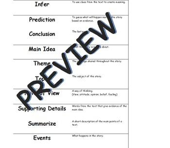 MCA Reading Vocabulary Matching Game