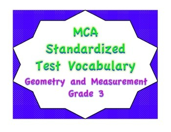 MCA Standardized Test Vocabulary, Geometry and Measurement Grade 3