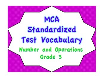 MCA Standardized Test Vocabulary, Number and Operations Grade 3