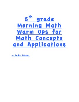 MCAP 5th grade AIMSWEB morning math
