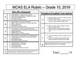 MCAS ELA Rubric - Grade 10, 2019