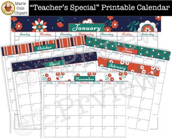 """Teacher's Special"" Printable Calendar, Daily & Weekly Planner [Marie Cole]"