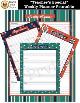 """""""Teacher's Special"""" Printable Calendar, Daily & Weekly Planner [Marie Cole]"""