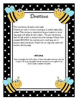 MCC.1.OA.2 Common Core Adding 3 Numbers Center Bee Themed!